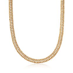 14kt Yellow Gold Two-Row Curb-Link Necklace, , default