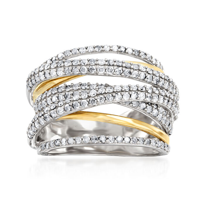 1.50 ct. t.w. Diamond Highway Ring in Sterling Silver and 14kt Yellow Gold