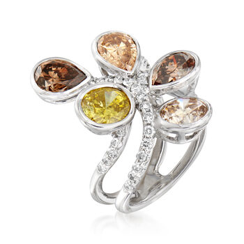 C. 1990 Vintage 6.16 ct. t.w. Multicolored Diamond Cluster Ring in 18kt White Gold. Size 6