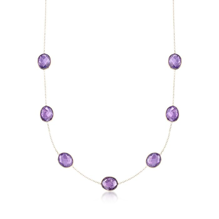28.00 ct. t.w. Amethyst Station Necklace in 14kt Yellow Gold, , default