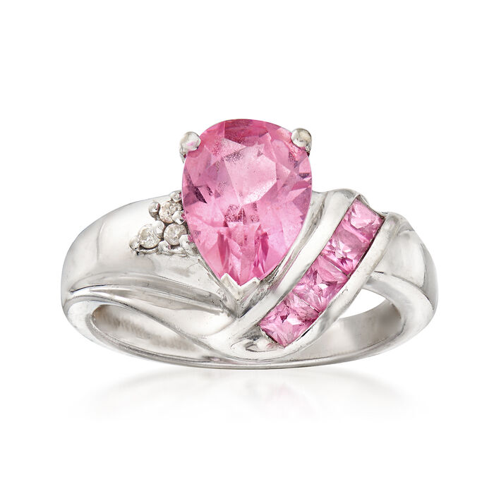 C. 1990 Vintage 2.70 Synthetic Pink Sapphire Ring with Diamond Accents in 10kt White Gold. Size 6.5, , default