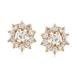 C. 1980 Vintage 1.45 ct. t.w. Diamond Burst Earrings in 14kt Yellow Gold, , default