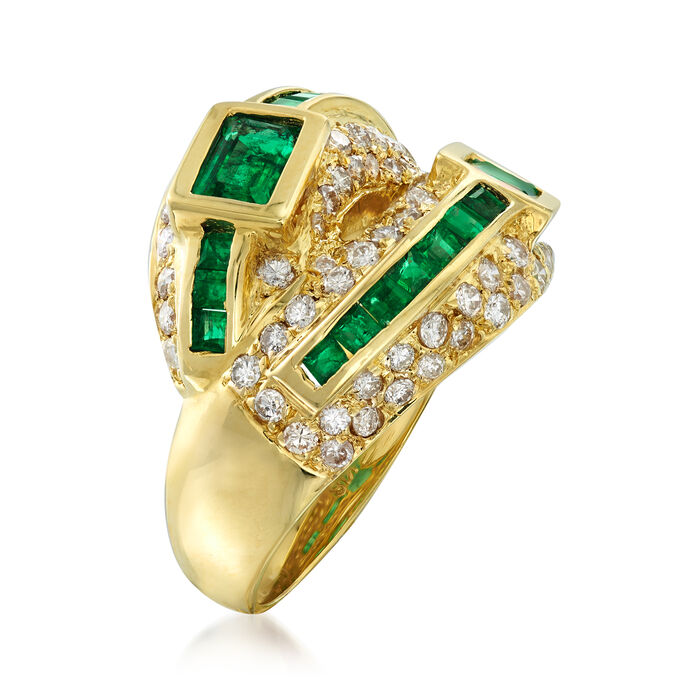 C. 1990 Vintage 1.74 ct. t.w. Emerald and 1.12 ct t.w. Diamond Ring in 18kt Yellow Gold