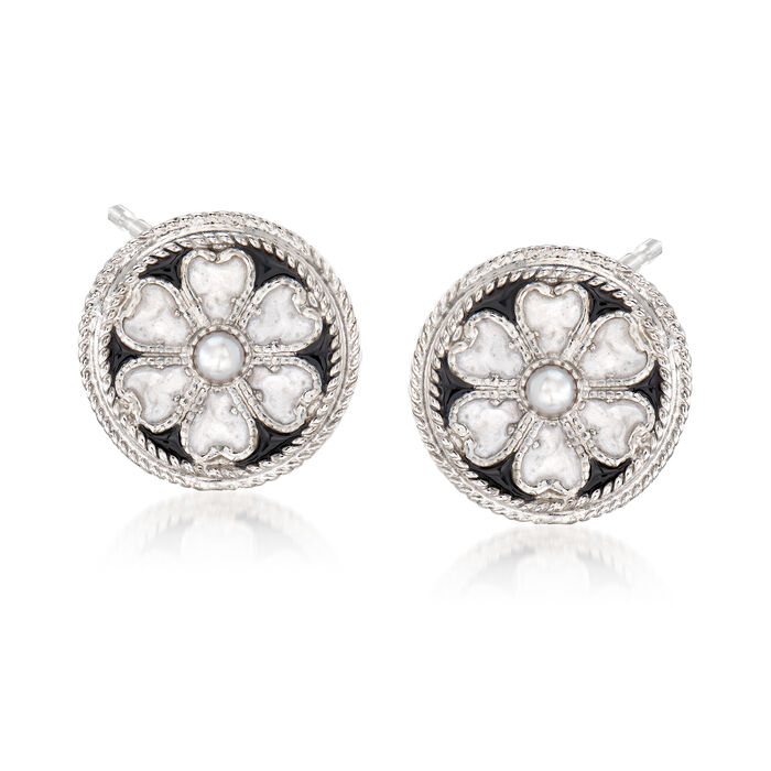 Italian 3mm Cultured Pearl and Enamel Flower Stud Earrings in Sterling Silver, , default