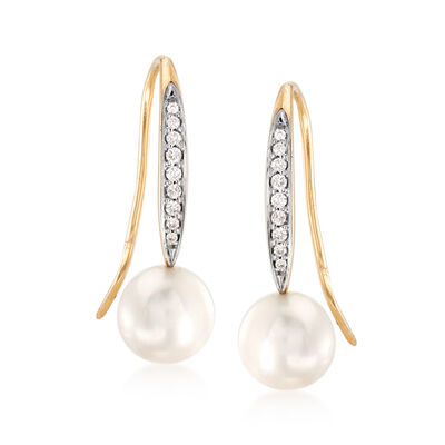7.5-8mm Cultured Pearl and .10 ct. t.w. Diamond Drop Earrings in 14kt Yellow Gold