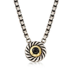 "C. 2000 Vintage David Yurman Black Onyx and Sterling Silver Necklace With 14kt Gold. 16.75"", , default"