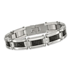 "Men's Stainless Steel and Black Carbon Fiber Inlay Bracelet With .12 ct. t.w. CZs 8.5"", , default"