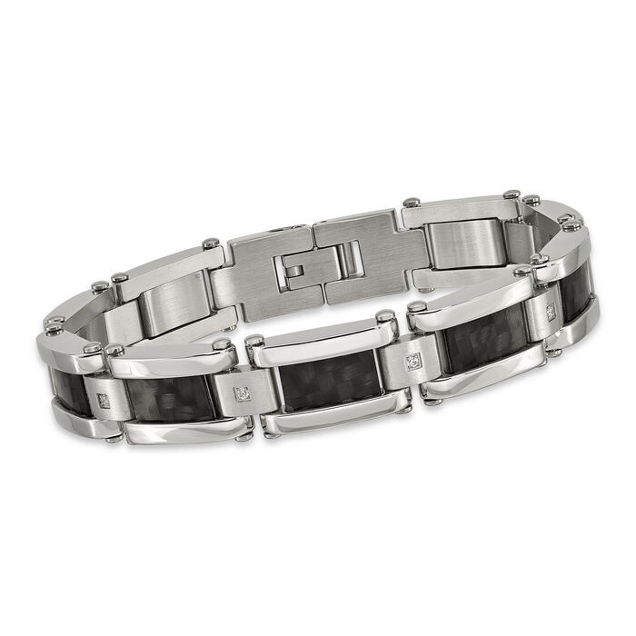 """Men's Stainless Steel and Black Carbon Fiber Inlay Bracelet with .12 ct. t.w. CZs 8.5"""", , default"""