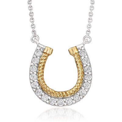.50 ct. t.w. CZ Horseshoe Necklace in Sterling Silver and 14kt Yellow Gold
