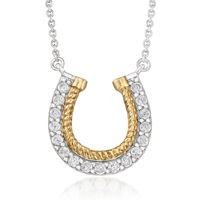 """.50 ct. t.w. CZ Horseshoe Necklace in Sterling Silver and 14kt Yellow Gold. 18"""", , default"""