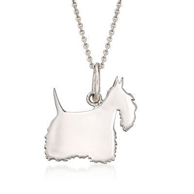 Italian Sterling Silver Scottie Dog Silhouette Pendant Necklace, , default