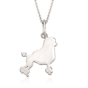 """Italian Sterling Silver Poodle Dog Silhouette Pendant Necklace. 18"""", , default"""