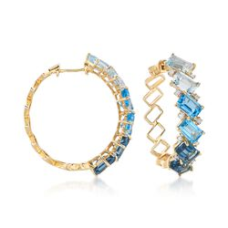 8.60 ct. t.w. London, Swiss and Sky Blue Topaz and .16 ct. t.w. Diamond Hoop Earrings in 14kt Yellow Gold, , default