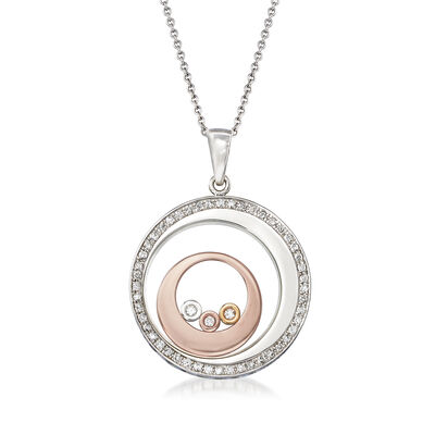 .30 ct. t.w. Diamond Floating Circle Pendant Necklace in 14kt Tri-Colored Gold, , default