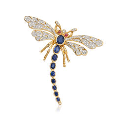 C. 1980 Vintage 4.06 ct. t.w. Diamond and Sapphire Pin With Ruby Accents in 18kt Yellow Gold, , default