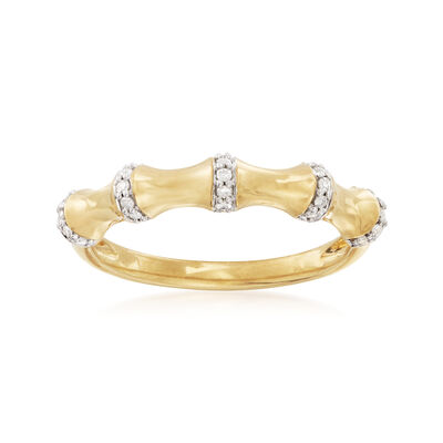 .10 ct. t.w. Diamond Bamboo Ring in 18kt Gold Over Sterling