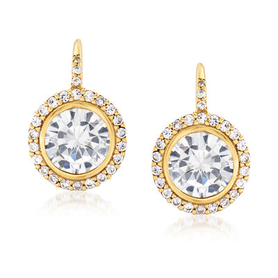 5.95 ct. t.w. CZ Drop Earrings in 18kt Gold Over Sterling, , default