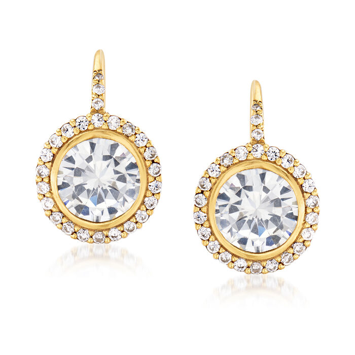 5.95 ct. t.w. CZ Drop Earrings in 18kt Gold Over Sterling