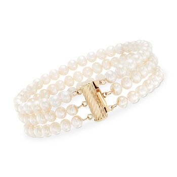 5-5.5mm Cultured Pearl Bracelet With 14kt Yellow Gold Clasp, , default