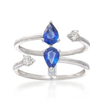 1.10 ct. t.w. Sapphire and .16 ct. t.w. Diamond Open-Space Ring in 18kt White Gold, , default