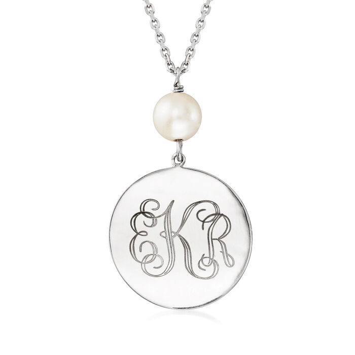 Sterling Silver Personalized Disc Necklace with 8-9mm Cultured Pearl