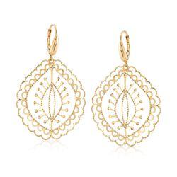 Italian 14kt Yellow Gold Arabesque Drop Earrings, , default