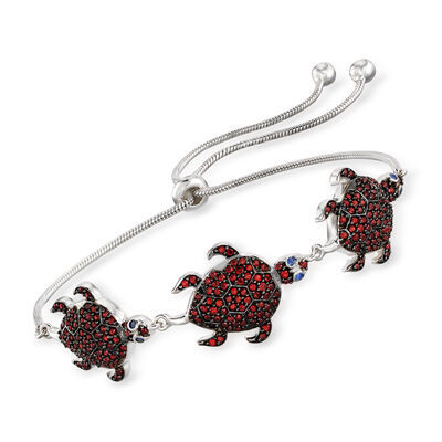 1.40 ct. t.w. Garnet Turtle Bolo Bracelet with Sapphire Accents in Sterling Silver, , default