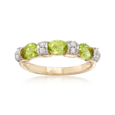 .90 ct. t.w. Peridot and .11 ct. t.w. Diamond Ring in 14kt Yellow Gold, , default