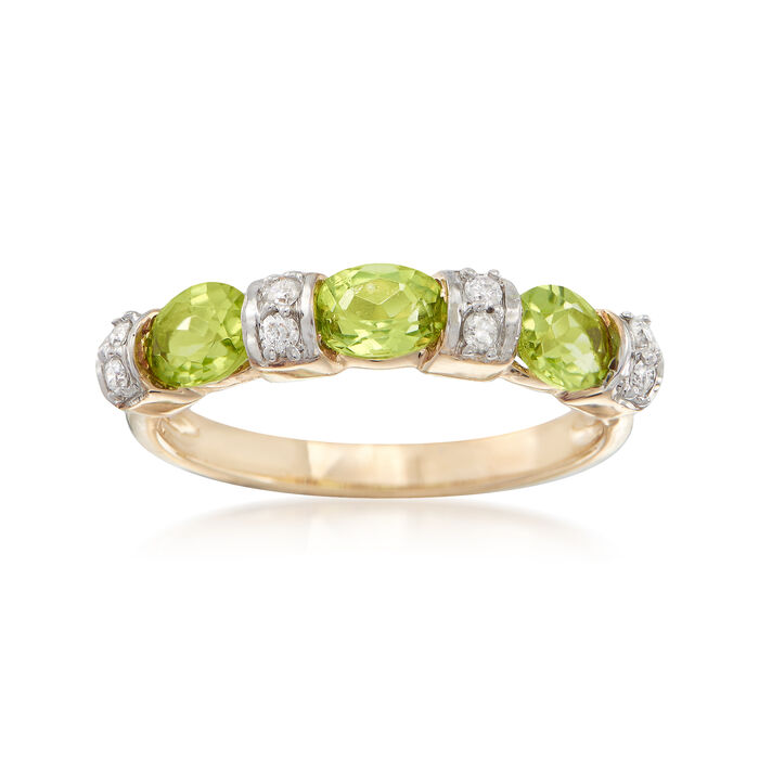 .90 ct. t.w. Peridot and .11 ct. t.w. Diamond Ring in 14kt Yellow Gold