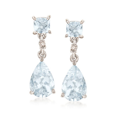 2.90 ct. t.w. Aquamarine Drop Earrings with Diamond Accents in 14kt White Gold