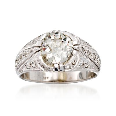 C. 1950 Vintage 1.85 ct. t.w. Diamond Ring in 14kt White Gold, , default