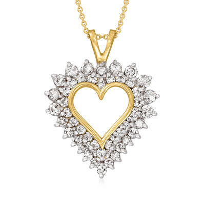 C. 1980 Vintage 2.00 ct. t.w. Diamond Open-Space Heart Pendant Necklace in 14kt Yellow Gold