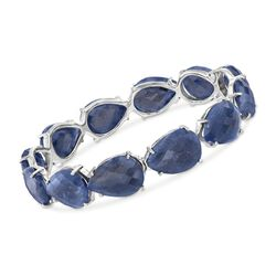 120.00 ct. t.w. Sapphire Bangle Bracelet in Sterling Silver, , default