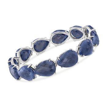 "120.00 ct. t.w. Sapphire Bangle Bracelet in Sterling Silver. 7"", , default"