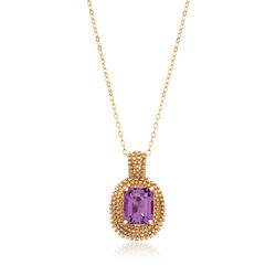 C. 1990 Vintage 2.65 Carat Amethyst Pendant Necklace in 10kt Two-Tone Gold, , default