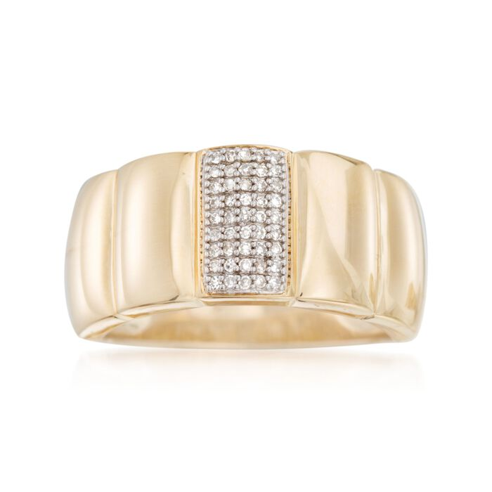 .10 ct. t.w. Pave Diamond Ring in 18kt Gold Over Sterling , , default
