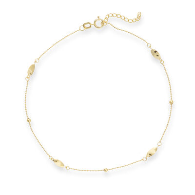 14kt Yellow Gold Marquise Station Anklet, , default