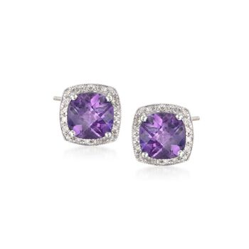 3.30 ct. t.w. Amethyst and .10 ct. t.w. Diamond Earrings in 14kt White Gold, , default