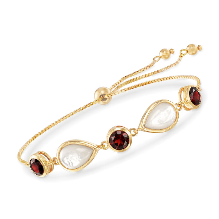 Mother-Of-Pearl and 6.00 ct. t.w. Garnet Bolo Bracelet in 18kt Gold Over Sterling, , default