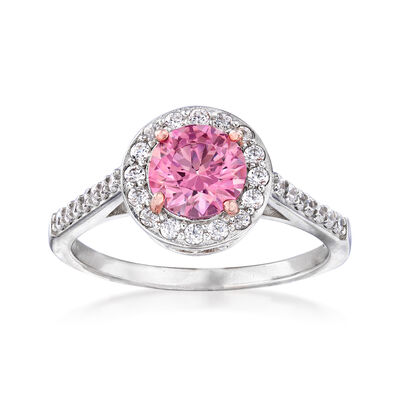Pink CZ and .48 ct. t.w. White CZ Halo Ring in Sterling Silver, , default