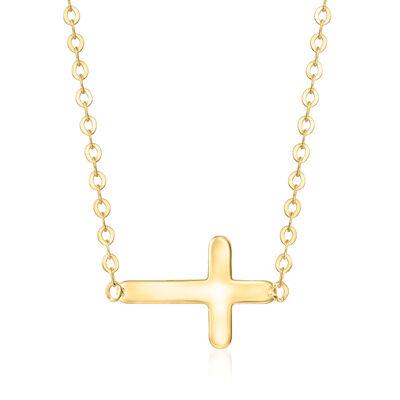 Child's 14kt Yellow Gold Sideways Cross Necklace