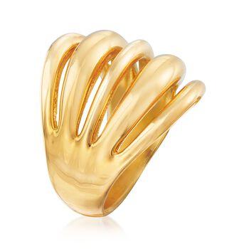 Italian Andiamo 14kt Yellow Gold Multi-Row Open-Space Ring. Size 6, , default