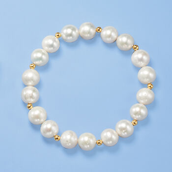 9-10mm Cultured Pearl Stretch Bracelet with 14kt Yellow Gold, , default