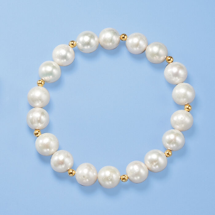 9-10mm Cultured Pearl Stretch Bracelet with 14kt Yellow Gold