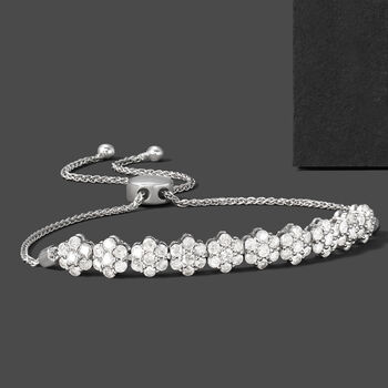 2.00 ct. t.w. Diamond Floral Bolo Bracelet in 14kt White Gold, , default