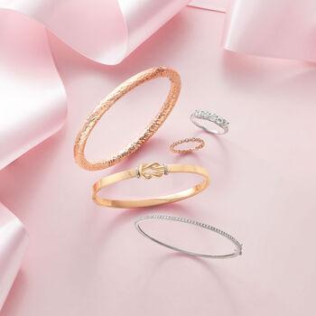 14kt Two-Tone Gold Love Knot Bangle Bracelet, , default
