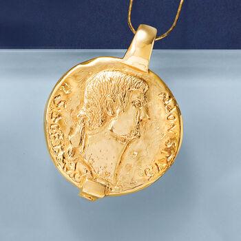 Italian 14kt Yellow Gold Ancient Roman Replica Sesterzio Coin Slide Pendant