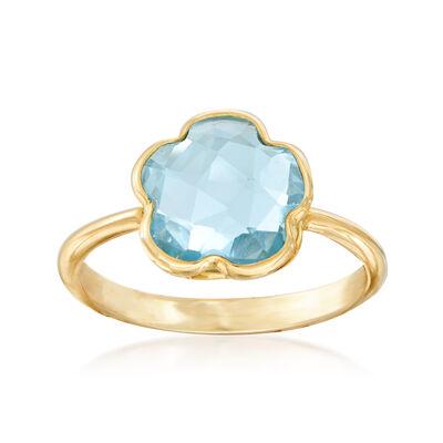 Italian 3.10 Carat Sky Blue Topaz Flower Ring in 14kt Yellow Gold, , default