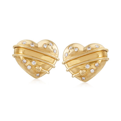 C. 1994 Vintage Tiffany Jewelry .25 ct. t.w. Diamond Heart Clip-On Earrings in 18kt Yellow Gold, , default