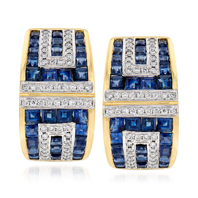3.91 ct. t.w. Sapphire and .41 ct. t.w. Diamond Geometric Earrings in 18kt Yellow Gold, , default